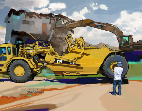 Demolition,Day,Demo,demolition,Caterpillars,heavy equipment,construction site,construction site demolition,caterpillar painting,Brad Burns,highways,drainage,freeways,slip form paver