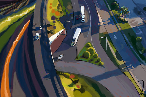 Overpass,and,Trucks,overpass,abstract,heavy equipment,construction site,construction site painting,caterpillar painting,Brad Burns,highways,drainage,freeways,slip form paver