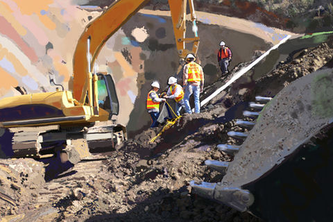RCC,Work,Crew,sub-contractor, 680, palace of fine art, shovel,pipe, abstract, san francisco, landscape architect, , america, trenches,caterpillar, catapillar,catapiller,trencher,construction artist, bulldozers, c