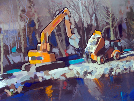 Water,Shore,Up,Shore up, catapillar, heavy equipment, lake, water, ice, snow, blue, yellow