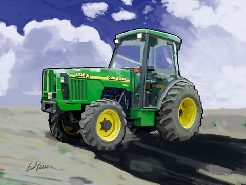 John,Deere,5510N,Farm,Tractor,John Deere art, John Deere painting, John Deere artist,1998 John Deere 5510N Farm Tractor, ag equipment, agriculture equipment,Farm Tractor, america, trenches,caterpillar, catapillar,catapiller,trencher,construction artist, bulldozers, construction art, c