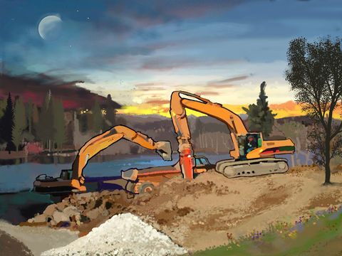 Crush,and,Load,heavy equipment art,Shore up, catapillar, heavy equipment, lake, water, ice, snow, blue, yellow