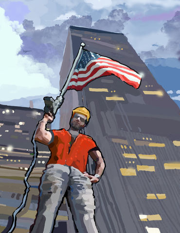 The,Patriot,construction artist,constructionartist,twin towers, 911, Nine eleven, hard hat, construction worker, rebuilding yellow, blue