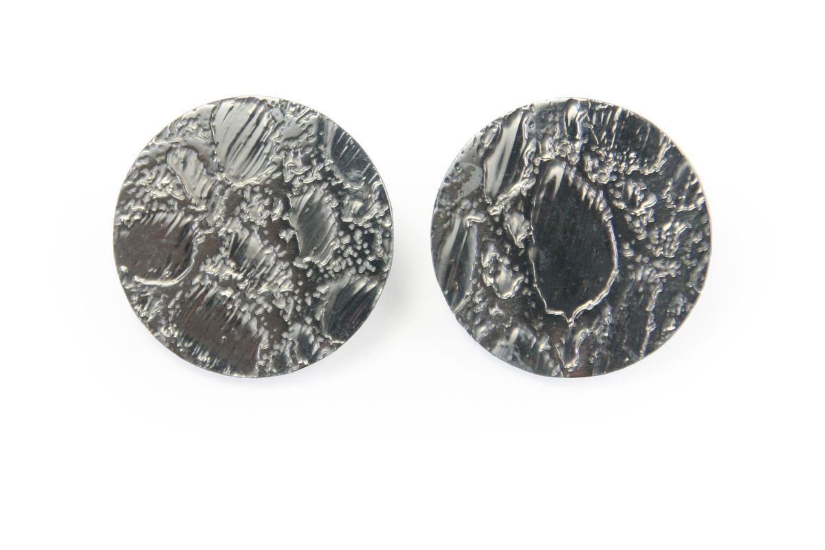 Black Etched 'Skin' Stud Earrings - 25mm - product images  of