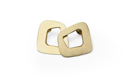 'Line',Stud,Earrings,-,gold,plated,sterling,silver,skin studs, earrings, line earrings, gold square studs