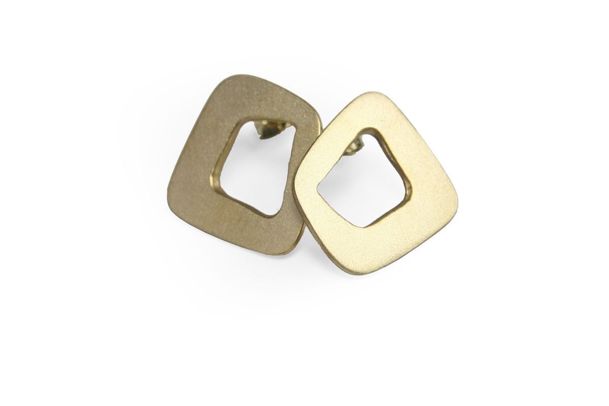 'Line' Stud Earrings - gold plated sterling silver - product images  of