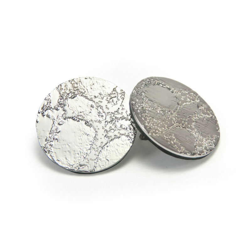 Silver Etched 'Skin' Stud Earrings - Large 25mm - product images  of