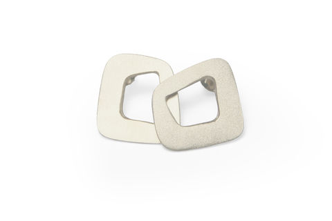 'Line',Stud,Earrings,-,Sterling,Silver,skin, studs, earrings, line earrings, silver, square studs