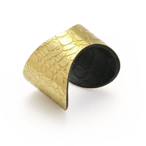 Skin,Textured,Gold,&,Black,Etched,Cuff,(slim),-,Sara,Gunn,gold, cuff, black, leather, narrow, skin, sara gunn jewellery, sara gunn