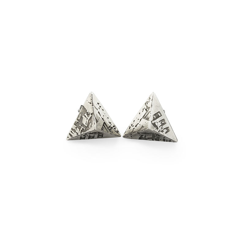Mini SOUVENIR Stud Earrings - Oxidised Silver - product images  of