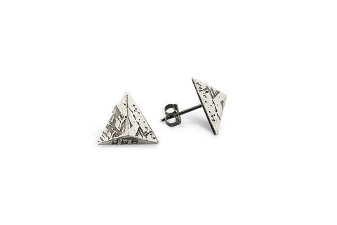 Mini,SOUVENIR,Stud,Earrings,Souvenir, earrings, studs, stud earrings, pyramid, London, silver, sterling silver, oxidised silver, handmade