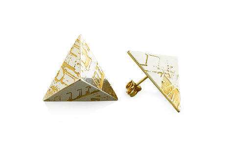 SOUVENIR,Pyramid,Stud,Earrings,-,LGE,london, jewellery, earrings, stud, stud earrings, pyramid, fashion jewellery, custom made