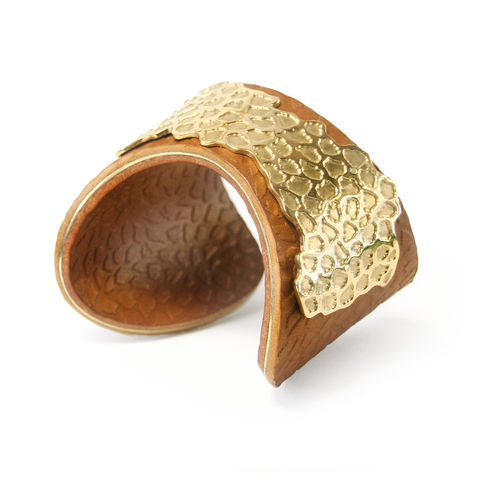 Tan,&,Gold,'Skin',Overlay,Cuff,-,Sara,Gunn,leather cuffs, Sara Gunn, Luxury Fashion, Luxury fashion jewellery, Skin Cuff, Cuffs, sara gunn jewellery, hand made, textured, leather, etched