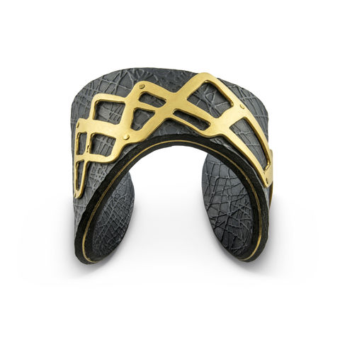 Black,&,Gold,'Line',Overlay,Cuff,-,Sara,Gunn,Sara Gunn, Leather Cuff, luxury fashion jewellery, luxury fashion, custom made jewellery, sara gunn jewellery, embossed, gold, black, textured cuff, textured jewellery