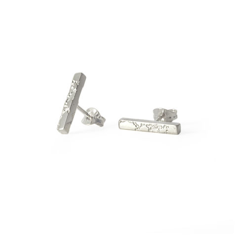 SKIN,textured,bar,stud,earrings,-,sterling,silver,stud earrings, silver, bar earrings, skin, textured
