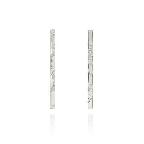 SKIN,textured,straight,bar,earrings,-,sterling,silver, sterling silver, silver, bar earrings, skin, textured, straight earrings, etched