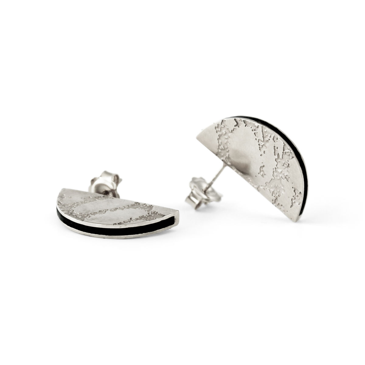 SKIN textured semicircle stud earrings - silver & black - product images  of