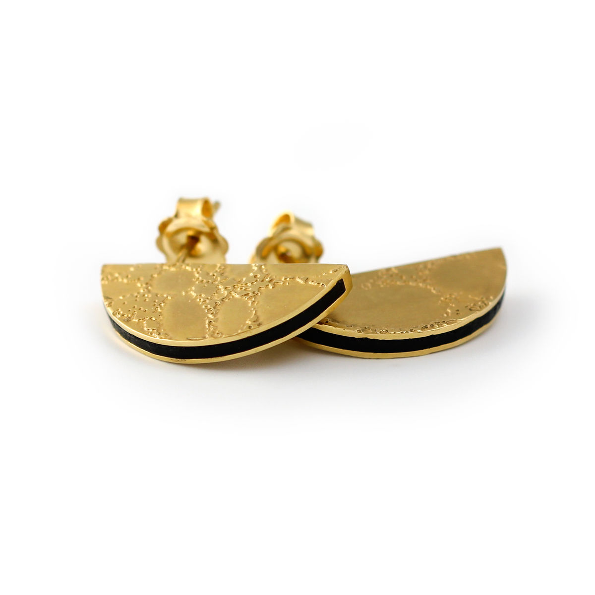SKIN textured semicircle stud earrings - gold & black - product images  of