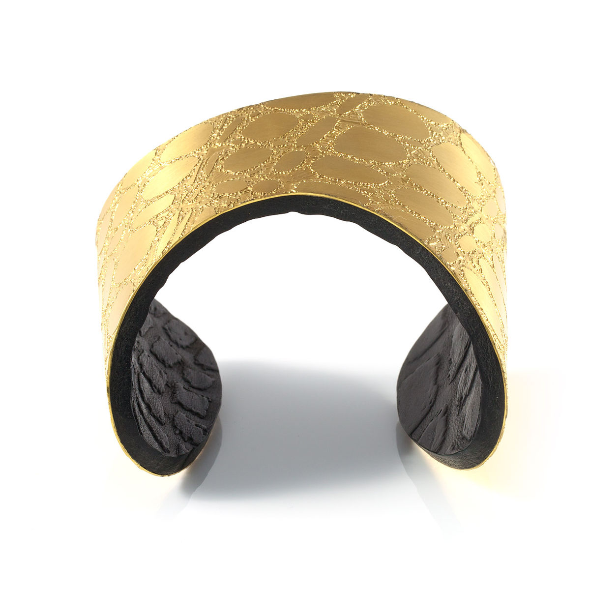 Gold & Black Etched Metal and Leather 'Skin' Cuff - Sara Gunn - product images  of