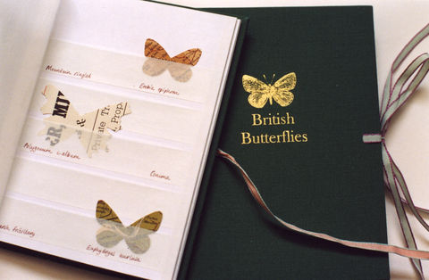 British,Butterflies,(Stamp,Album),artists books papercuts map butterflies Tracey Bush
