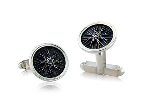 Wheel,Cufflinks,Silver, Cycling, Jewellery, Cufflinks, Track, Bicycle, Hallmarked, U.K.