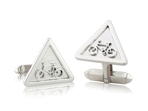 Warning,Sign,Cufflinks,Silver, Jewellery, Cufflinks, Bicycle, Hallmarked, U.K.