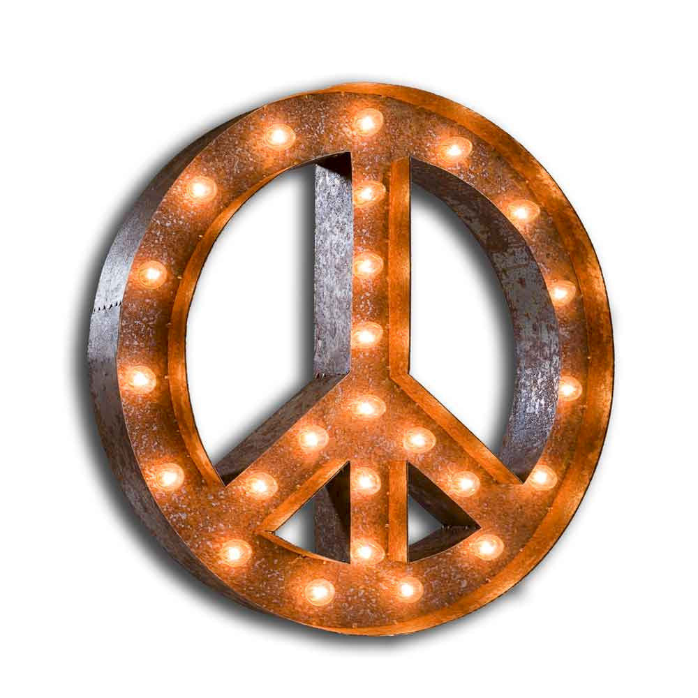 Peace Sign Bedroom Letter Light Peace Sign The Vintage Industrial