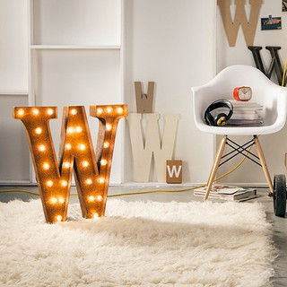 Letter,Light,W,Large Metal Vintage Letter Lights industrial