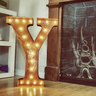 Letter,Light,Y,Large Metal Vintage Letter Lights industrial