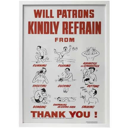 "Framed,Swimming,Pool,Rules,Poster,Vintage Print ""will patrons kindly refrain from"" Print Vintage Pool Safety Poster  framed"
