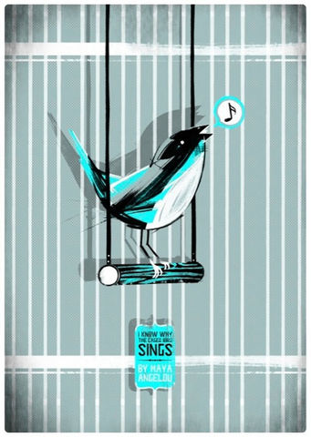 I,Know,Why,The,Caged,Bird,Sings,(Book,Cover,by,G,McKinley),A2,Screen-Print,Art,Illustration,Print,Book,Poster,Screen,Design,Column_Arts_Agency,Guy_McKinley,Maya_Angelou,Cage,Ink,Paper,Fabriano,Rosapina