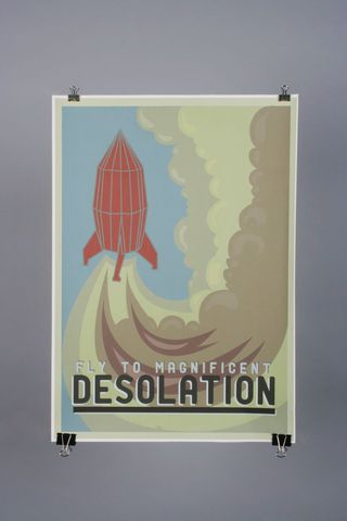 Fly,To,Magnificent,Desolation,by,Catherine,Chialton, Chialton, Illustration, Design, Graphic, Print, Poster, Rocket, Planet, Space, Science, Art, Artist, Arts, Agency, Shop, Column, London, Manchester, Birmingham