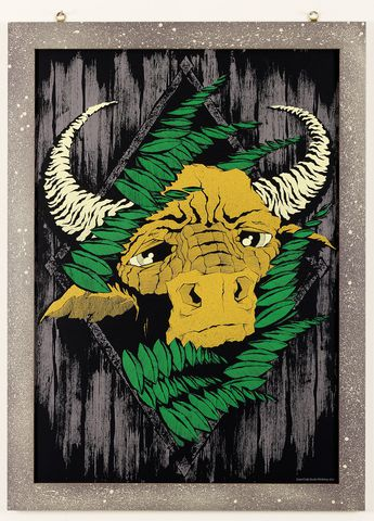 Beast,Of,Burden,by,Mr,Hass,(A1,illustration,print),Cow, Bull, Beast, Burden, Hass, Hassan, Torossian, Super, Crafts, illustration, design, Column, Arts, Agency, buffalo, indian, ink, 1050, gsm, Black, Colorplan, Cardboard, screen, print