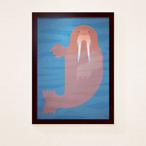 Walrus,by,Alan,Dalby,(A3,print),Art, Illustration, Print, Book, Walrus, Alan, Dalby, Design, Paper, Giclee