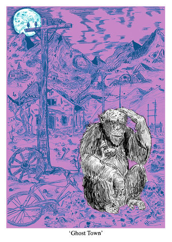 Ghost,Town,by,SAVWO,(A2,Screen,Print),Art, Illustration, Print, Screen, Design, Ghost, Town, Ape, Monkey , SAVWO, John, Powell, Jones, Column, Arts, Agency, Ink, Paper, Screen Print, Archival