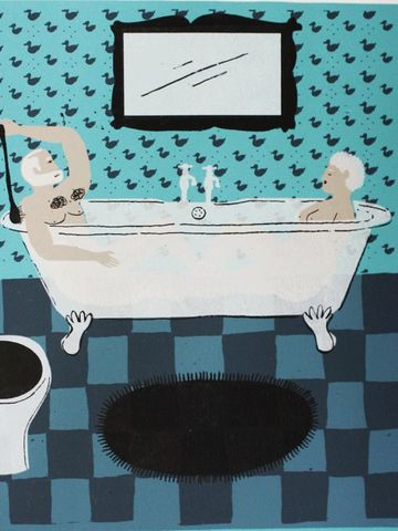Hot,Bath,by,Nicholas,Saunders,(5,Layer,Screen,Print),Nick, Nicholas, Saunders, Artist, Illustrator, Hot, Bath, Screen, Print, Illustration, Art, Shop, Sale, Manchester, Column, Arts, Agency, Birmingham, London