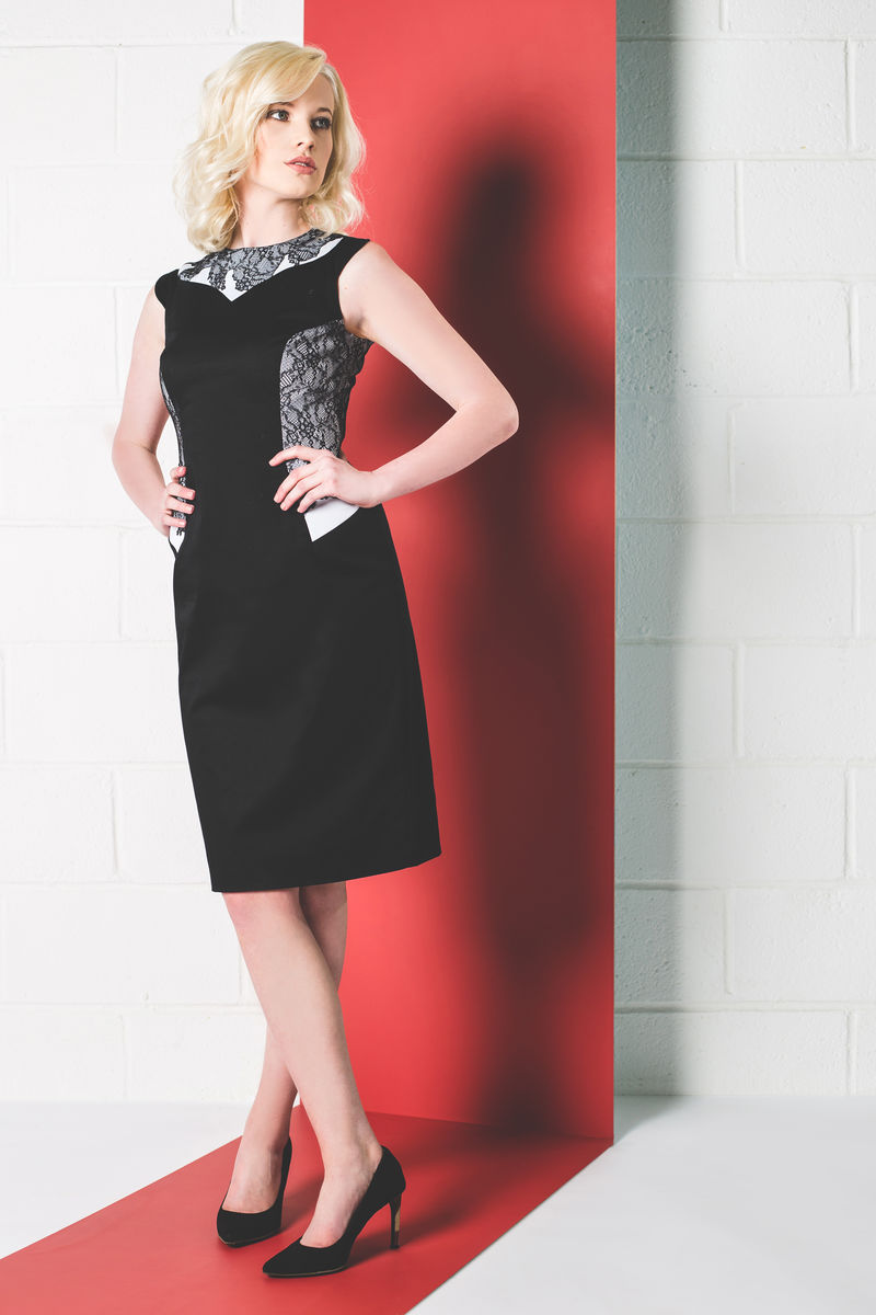 BLACK LACE PANEL DRESS - product images  of