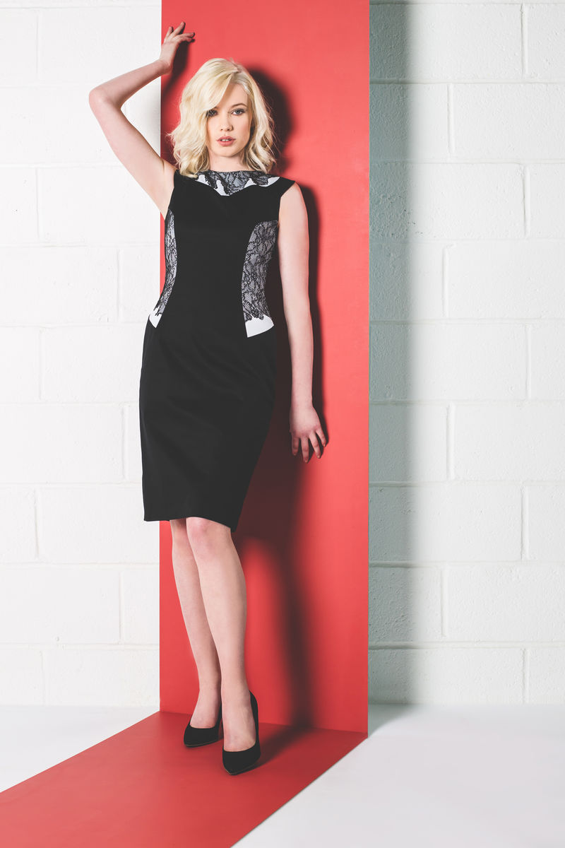 BLACK LACE PANEL DRESS - product image