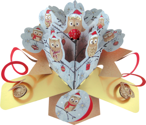 Second,Nature,Xmas,Pop,Ups,-,Owls,Second Nature Pop Ups, Original Pop-ups, Pop up greeting card, Pop up, Pop-up, Pop-ups, Christmas Pop Up, Xmas Pop Up, Owls