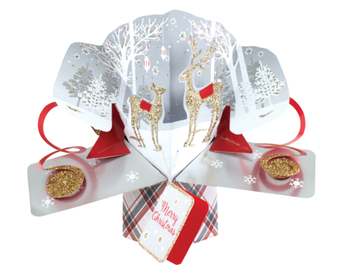 Second,Nature,Xmas,Petite,Pop,Ups,-,Reindeer's,Second Nature Pop Ups, Original Pop-ups, Pop up greeting card, Pop up, Pop-up, Pop-ups, Christmas Pop Up, Xmas Pop Up, Petite Pop Ups, Small pop ups, Reindeer's, Trees, Gold, Snow, Animal