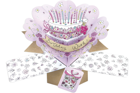 Second,Nature,Pop,Ups,-,Birthday,Cake,Second Nature Pop Ups, Original Pop-ups, Pop up greeting card, Pop up, Pop-up, Pop-ups, Birthday, Cake, Candles,Flowers, Floral, Present, Pink, Purple