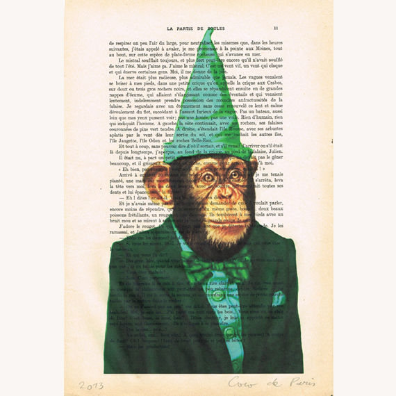 Party monkey in green - Print Artwork - product images  of