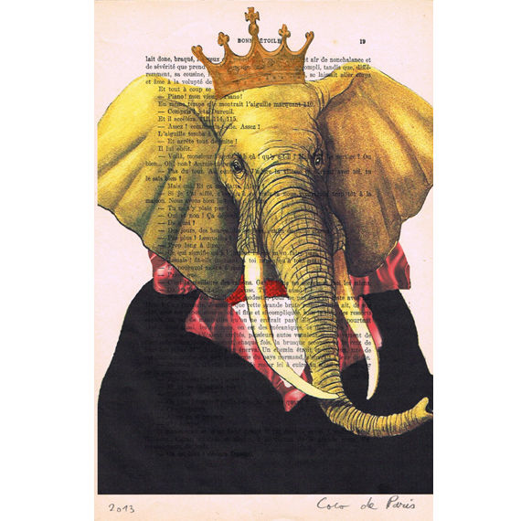 The Original Elephant King - Hand Painting Mixed Media Artwork - product images  of