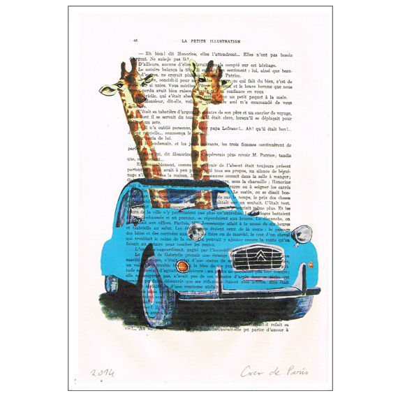 2 Giraffes In a blue car - Print Artwork - product images  of