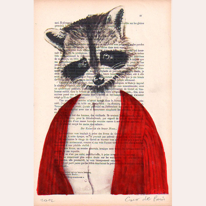 Mrs. Raccoon- Hand Painting Mixed Media Artwork - product images  of