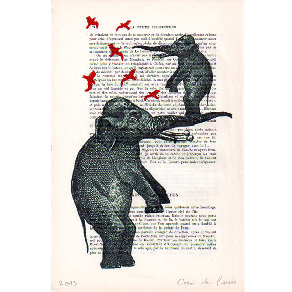 2 Elephants With Birds - Hand Painting Mixed Media Artwork - product images  of