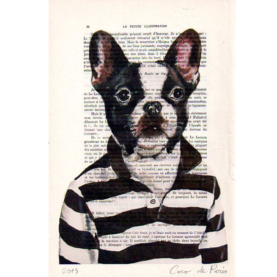 Stripy Frenchie- Print Artwork - product images  of