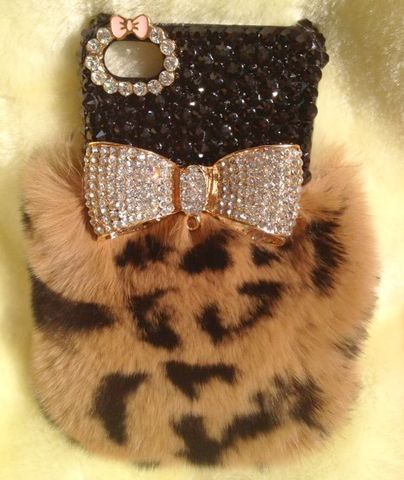 Fluffy,Leopard,Bow,Case