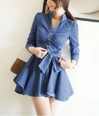 Denim,Flare,Dress,denim jacket, fur jacket, autumn jacket, denim dress