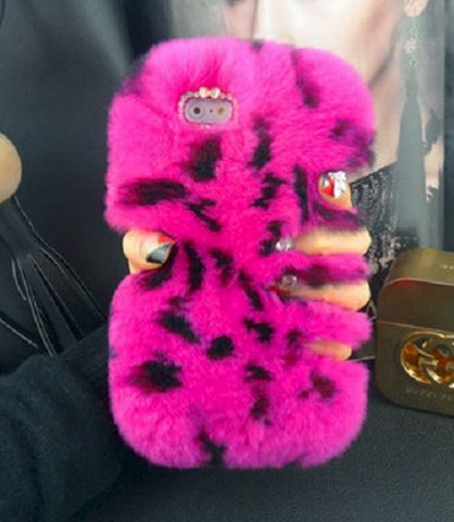 Fluffy,Pink,Leopard,Case